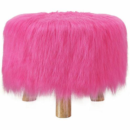 """16"""" Wide Azalea Pink Faux Fur Foot Stool"""