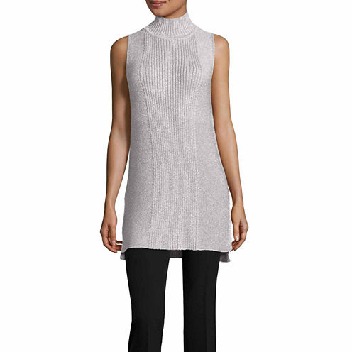 Worthington Sleeveless Mock Neck Pullover Sweater