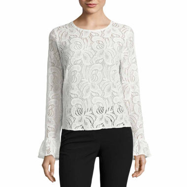 jcpenney.com | Worthington Long Sleeve Crew Neck Knit Blouse