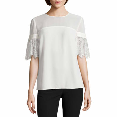 Worthington Short Lace Sleeve Blouse