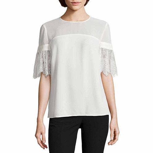 Worthington Short Lace Sleeve Blouse