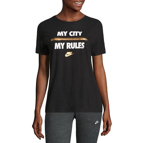 Nike Short Sleeve Crew Neck T-Shirt-Womens