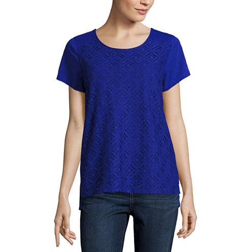 St. John's Bay Short Sleeve Draped Neck Geometric T-Shirt-Womens