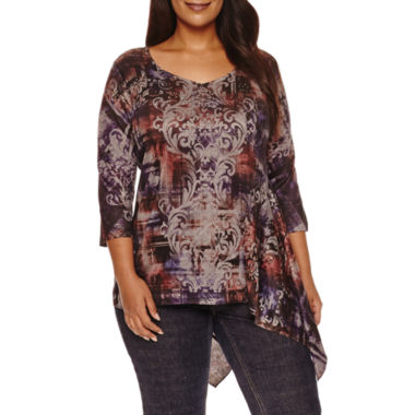 jcpenney.com | Unity 3/4 Sleeve World Wear Printed Tunic Top Plus