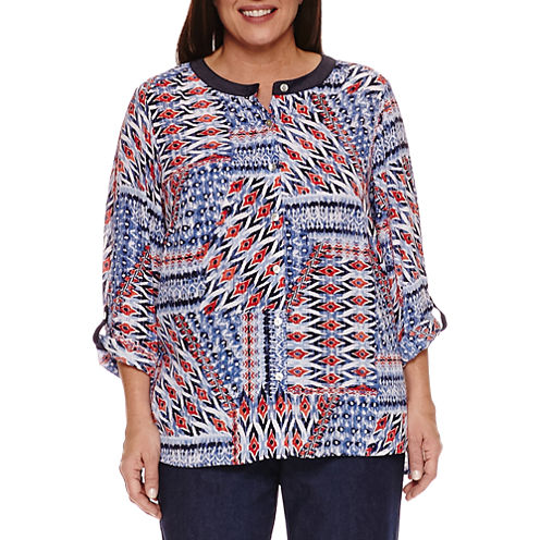 Alfred Dunner Long Sleeve Crew Neck Woven Blouse-Plus
