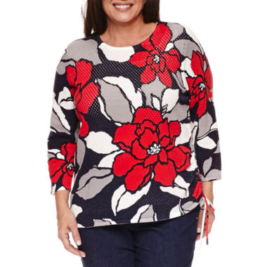 jcpenney.com | Alfred Dunner 3/4 Sleeve Crew Neck Pullover Sweater-Plus