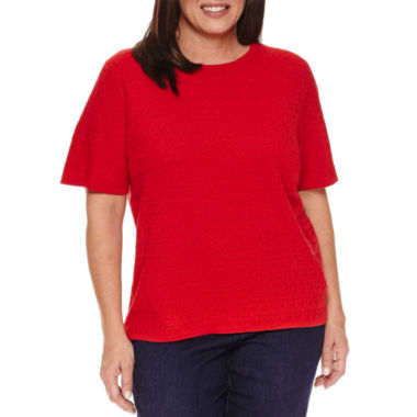 jcpenney.com | Alfred Dunner Short Sleeve Crew Neck Pullover Sweater-Plus