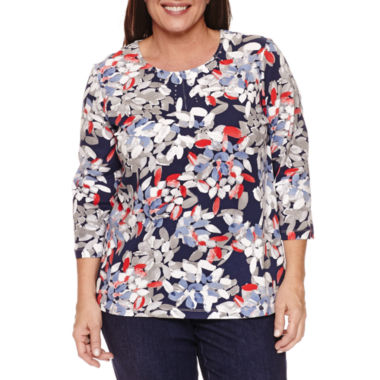 jcpenney.com | Alfred Dunner 3/4 Sleeve Crew Neck T-Shirt-Plus