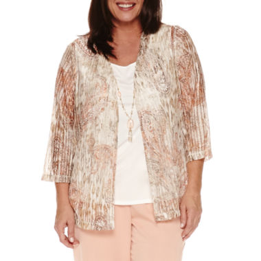 jcpenney.com | Alfred Dunner Just Peachy 3/4 Sleeve Layered Top Plus