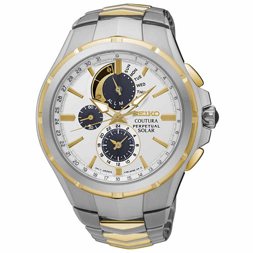 Seiko Mens Coutura Solar Two-Tone Silver and Gold  Bracelet Watch-SSC560