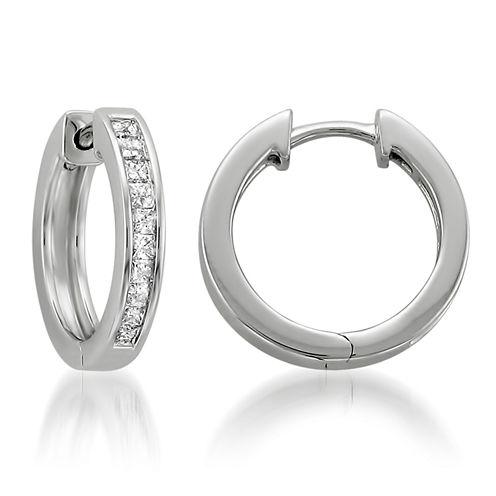1/2 CT. T.W. White Diamond 14K Gold Hoop Earrings