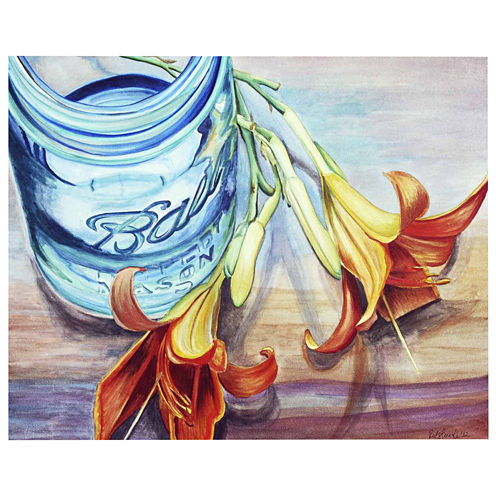 Mason Jar And Flowers I Canvas Wall Art