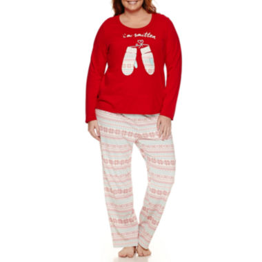 jcpenney.com | Sleep Chic Long Sleeve Knit Pant Pajama Set-Plus