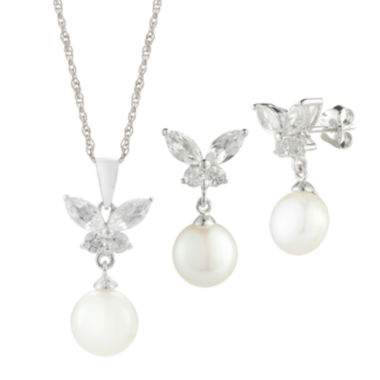 jcpenney.com | Womens 3-pc. White Pearl Sterling Silver Jewelry Set