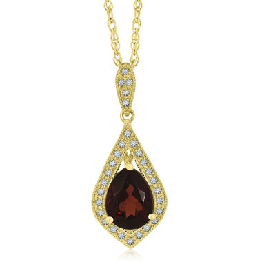 jcpenney.com | Womens Red Garnet Gold Over Silver Pendant Necklace