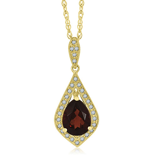 Womens Red Garnet Gold Over Silver Pendant Necklace