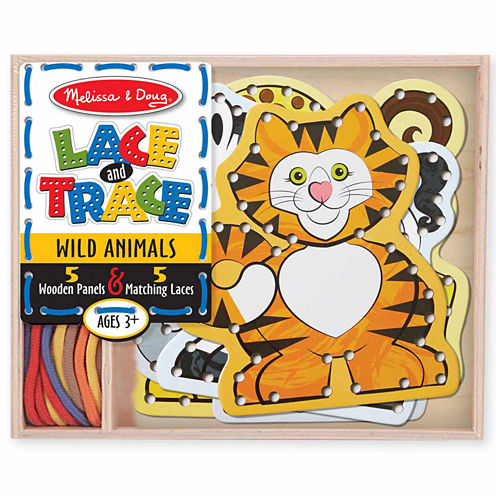 Melissa & Doug 10-pc Lace And Trace Wild Animals