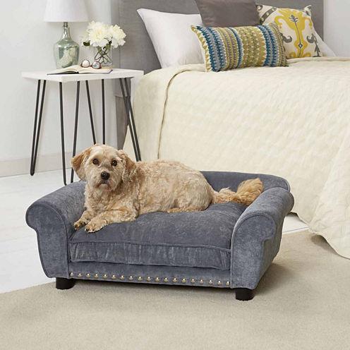 Enchanted Home Dreamcatcher Velvet Pet Sofa in Grey