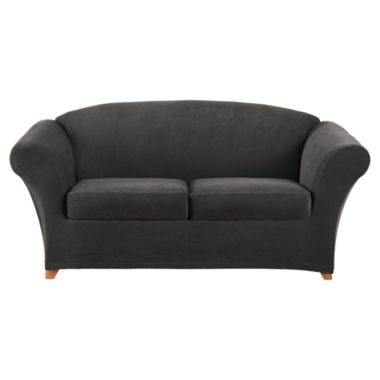 jcpenney.com | SURE FIT® Stretch Piqué 2 Seat Individual Cushion Loveseat Cover