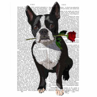 jcpenney.com | Boston Terrier with Rose Canvas Wall Art