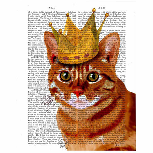 Ginger Cat with Crown Canvas Wall Art