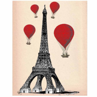 jcpenney.com | Eiffel Tower and Red Hot Air Balloons Canvas WallArt