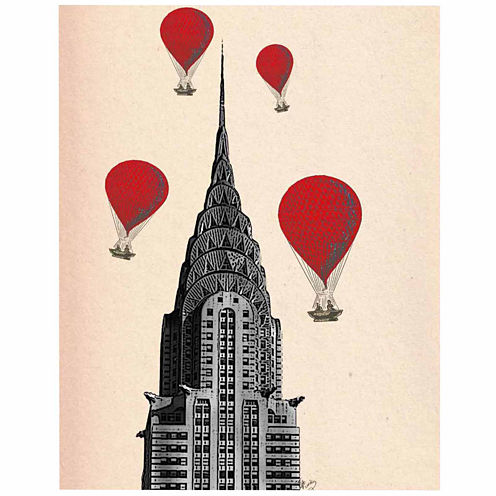 Chrysler Building and Red Hot Air Balloons CanvasWall Art
