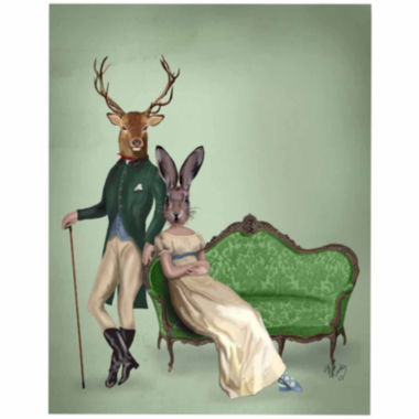 jcpenney.com | Mr Deer and Mrs Rabbit Canvas Wall Art