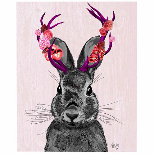 Jackalope with Pink Antlers Canvas Wall Art