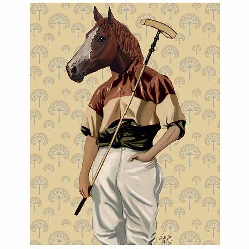 Polo Horse Portrait Canvas Wall Art