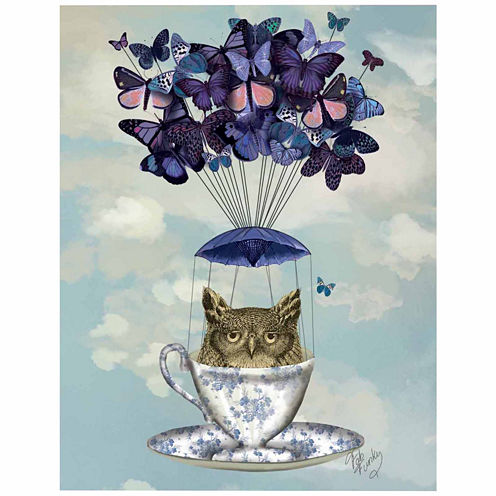 Owl In Teacup Canvas Wall Art