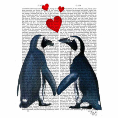 jcpenney.com | Penguins With Love Hearts Canvas Wall Art
