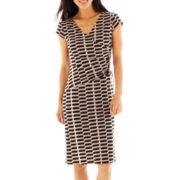 Black Label by Evan-Picone Side-Tie Geo-Pattern Knit Dress