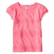 Arizona Short-Sleeve Lace Striped Tee - Girls 12m-6y