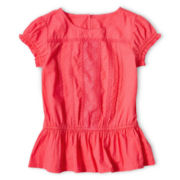 Arizona Swiss Dot Woven Peplum Top - Girls 6-16 and Plus