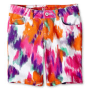Arizona Print Denim Bermuda Shorts - Girls 6-16, Slim and Plus