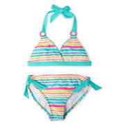 Breaking Waves Rainbow-Striped 2-pc. Swimsuit - Girls 6-16