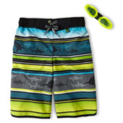 Zero Xposur® Shark Tooth Swim Trunks - Boys 6-18