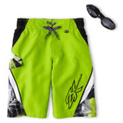 Zero Xposur® Green Axed Swim Trunks - Boys 6-18