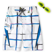 Zero Xposur® White Axed Swim Trunks - Boys 6-18