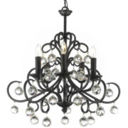 Gallery Versailles 5-Light Wrought Iron Chandelier with Crystal Balls