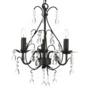 Gallery Versailles 3-Light Wrought Iron and Crystal Chandelier