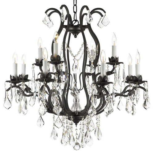 Gallery Versailles 12-Light Wrought Iron and Crystal Chandelier