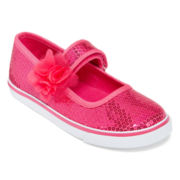 Okie Dokie® Peyton Girls Sequin and Flower Mary Janes - Toddler