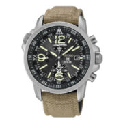 Seiko® Prospex Mens Brown Nylon Strap Solar Chronograph Watch SSC293