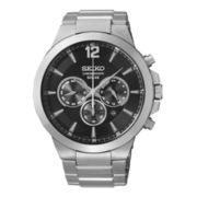 Seiko® Recraft Mens Stainless Steel Solar Chronograph Watch SSC321
