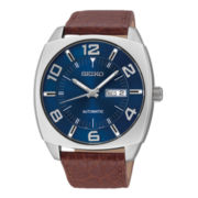 Seiko® Recraft Mens Brown Leather Strap Automatic Watch SNKN37