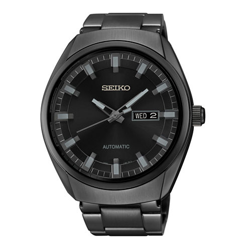 Seiko® Recraft Mens Black Stainless Steel Automatic Watch SNKN43
