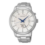 Seiko® Mens Stainless Steel Kinetic GMT Watch SUN037