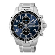 Seiko® Mens Two-Tone Stainless Steel Solar Chronograph Watch SSC305